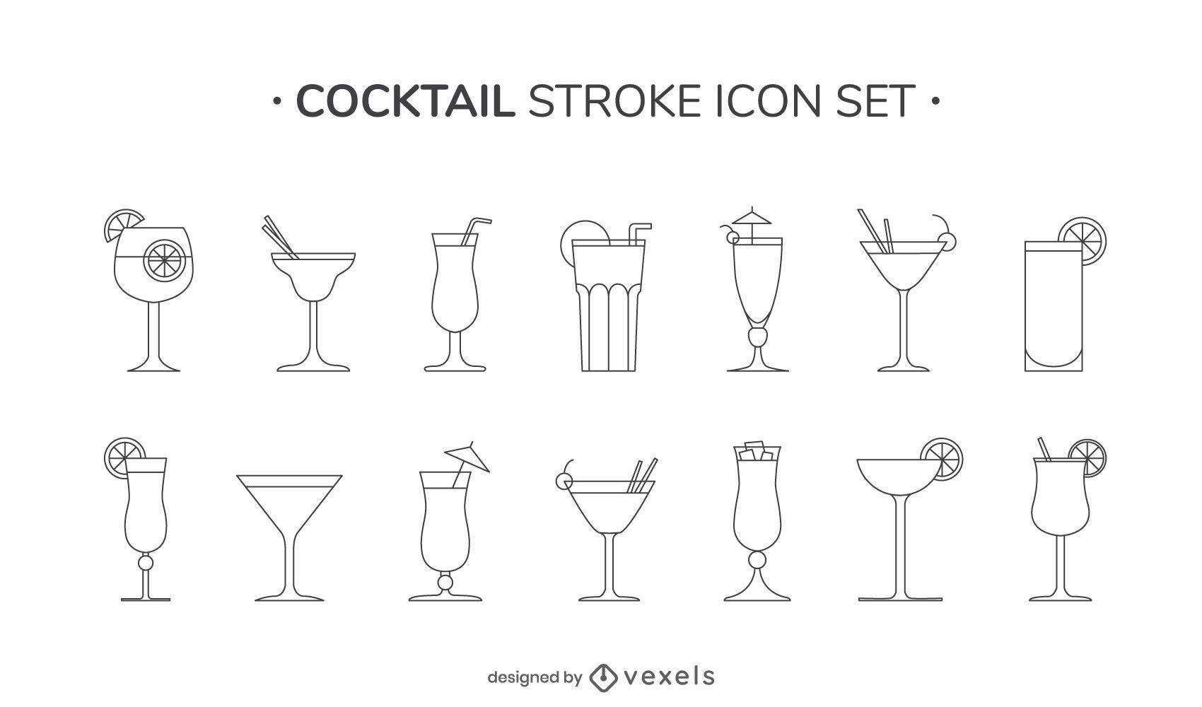 Cocktail stroke icon set
