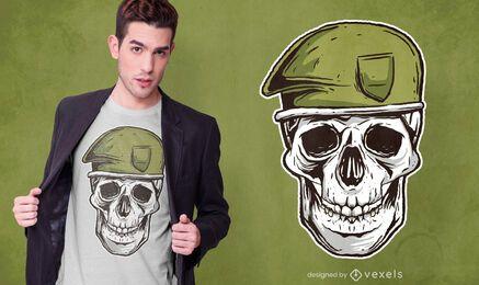 Diseño de camiseta de calavera militar