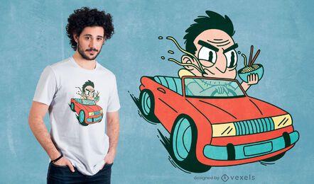 Diseño de camiseta de dibujos animados driver ramen