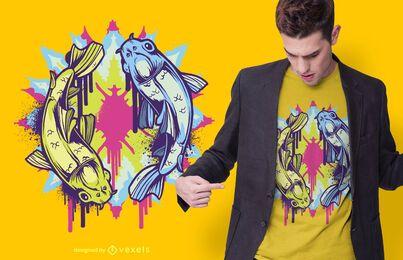 Design de camisetas coloridas de peixes koi