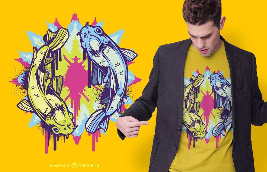Colorful koi fish t-shirt design