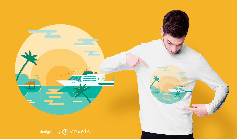 Design de camiseta da ilha de cruzeiro