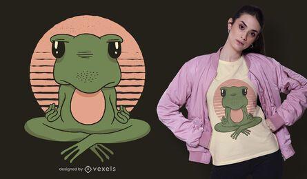 Diseño de camiseta de rana de yoga