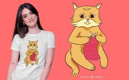 Diseño de camiseta de gato tejiendo