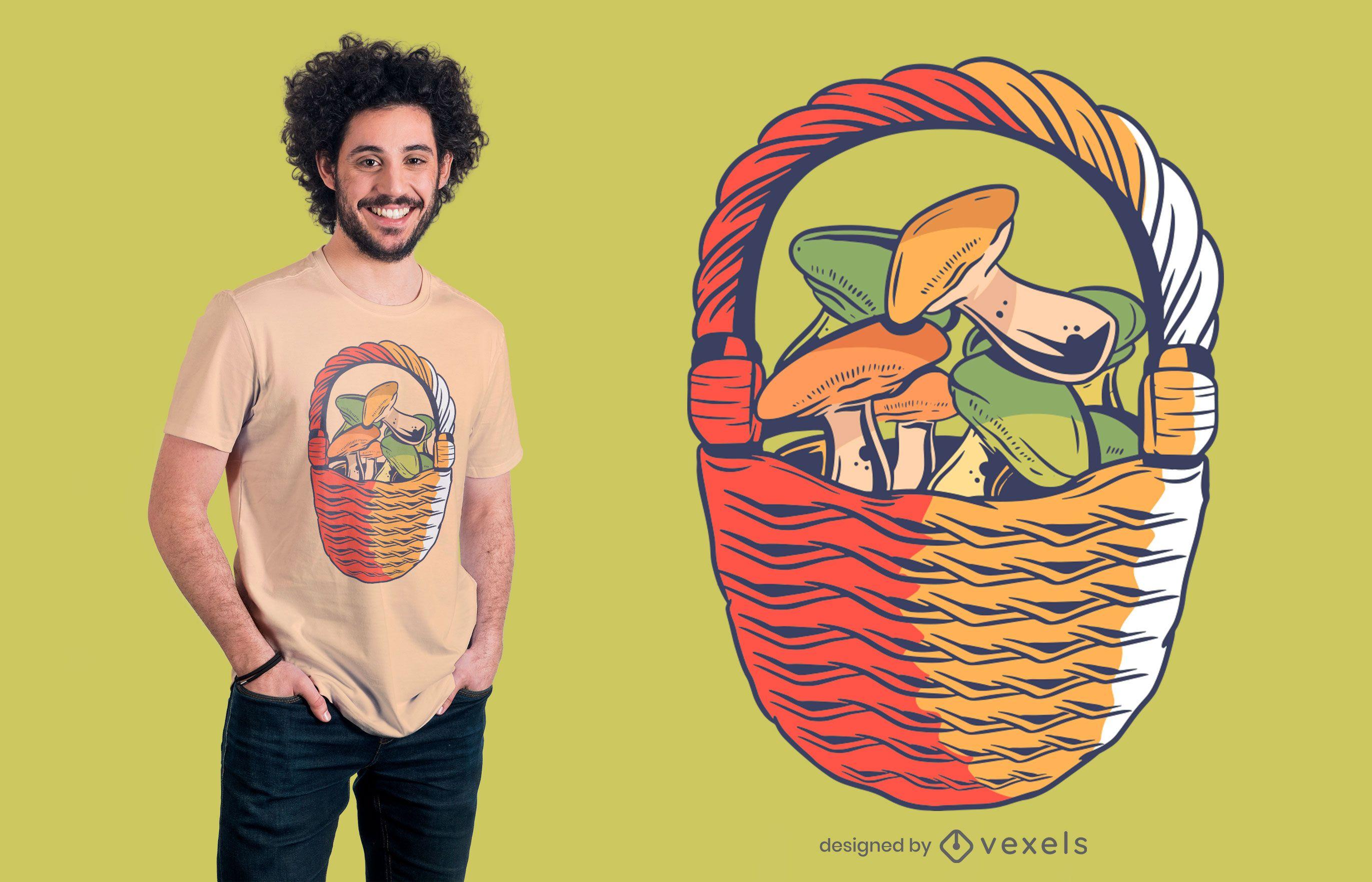 Diseño de camiseta de canasta de setas.