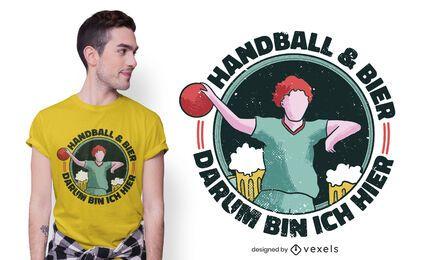 Diseño de camiseta de balonmano cerveza.