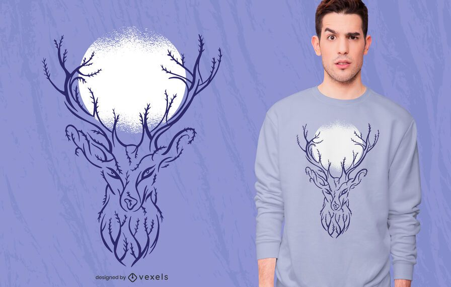 Tree Deer T-shirt Design