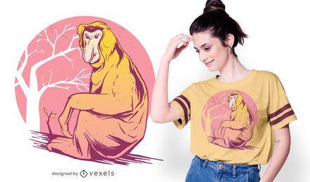 Diseño de camiseta de mono probóscide