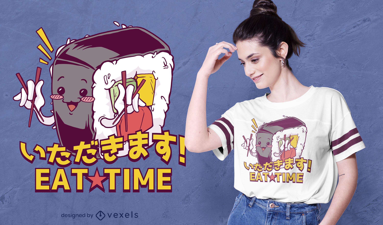 Diseño de camiseta de cita de almuerzo de sushi