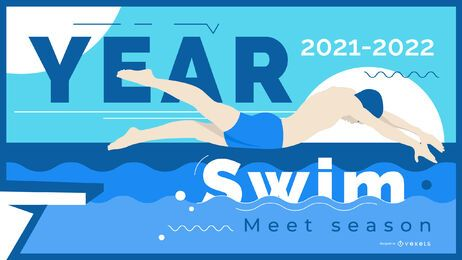 Faixa de ilustração de nadador na temporada de natação