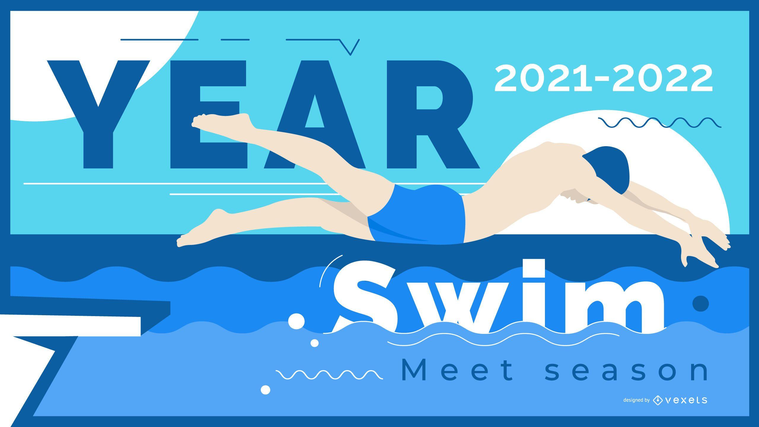Banner de ilustración de nadador de temporada de natación
