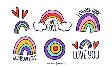 Conjunto de emblema arco-íris