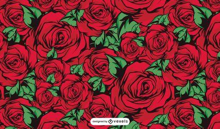 Desenho de padrão de rosas vermelhas