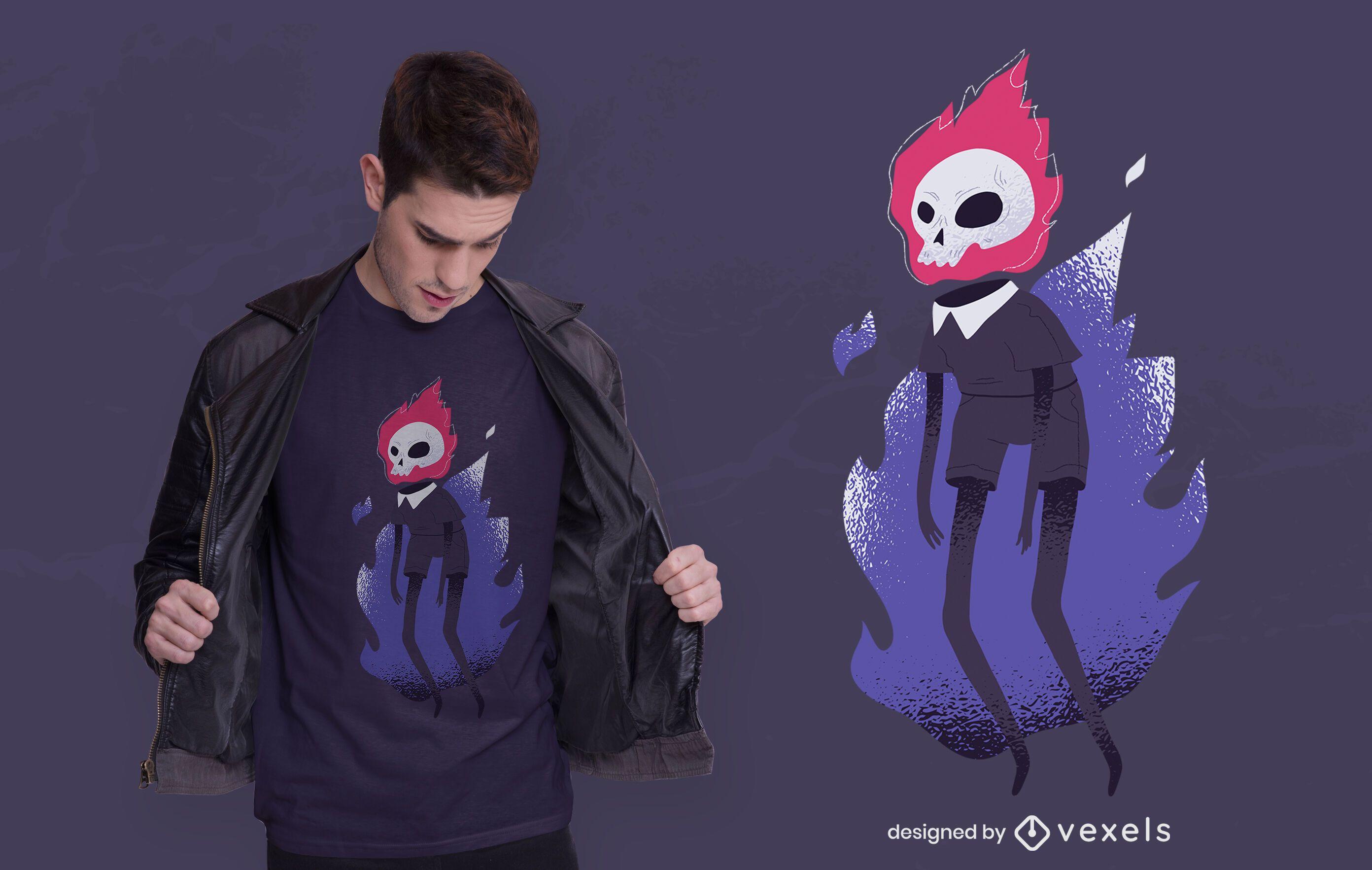 Halloween flaming skull t-shirt design