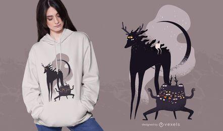 Diseño de camiseta de criaturas de halloween.