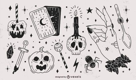 Hand Drawn Halloween Black Elements Pack