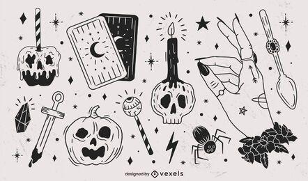 Hand gezeichnete Halloween Black Elements Pack