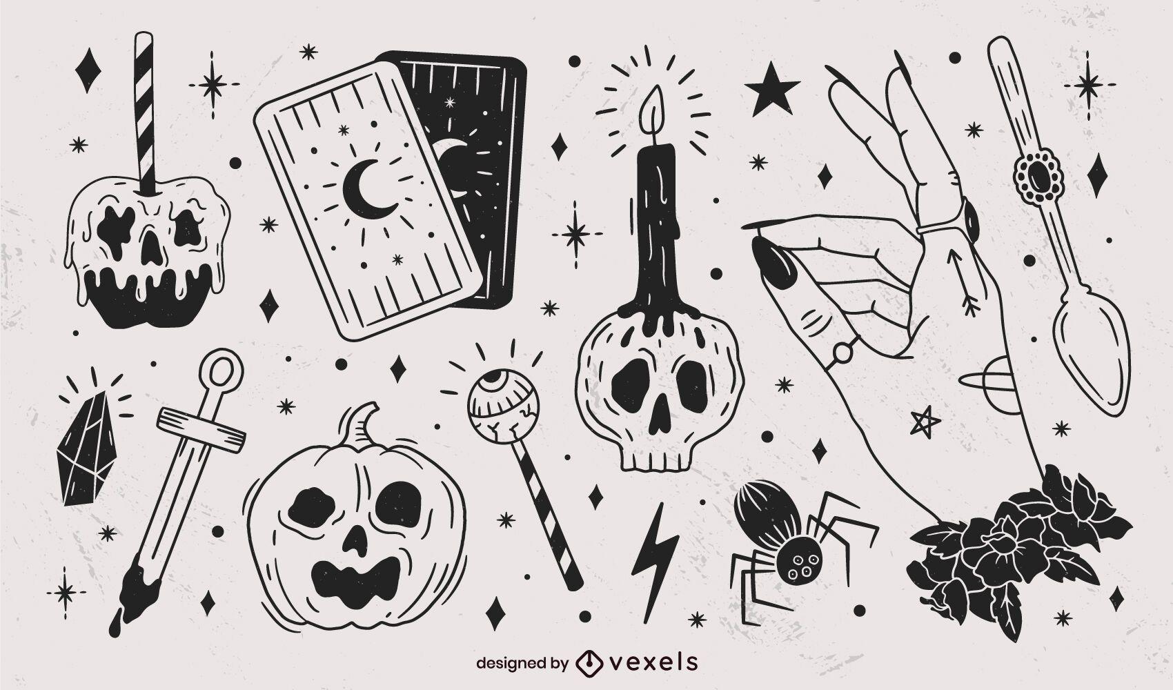 Pacote de elementos pretos desenhados à mão para Halloween