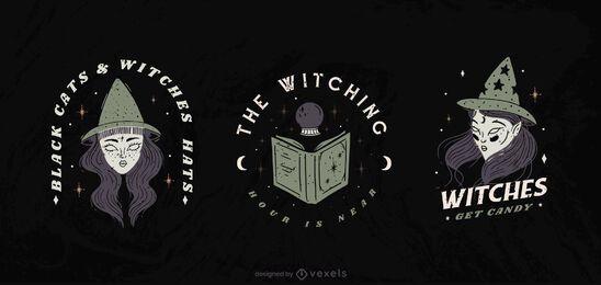 Conjunto de distintivo de bruxa halloween
