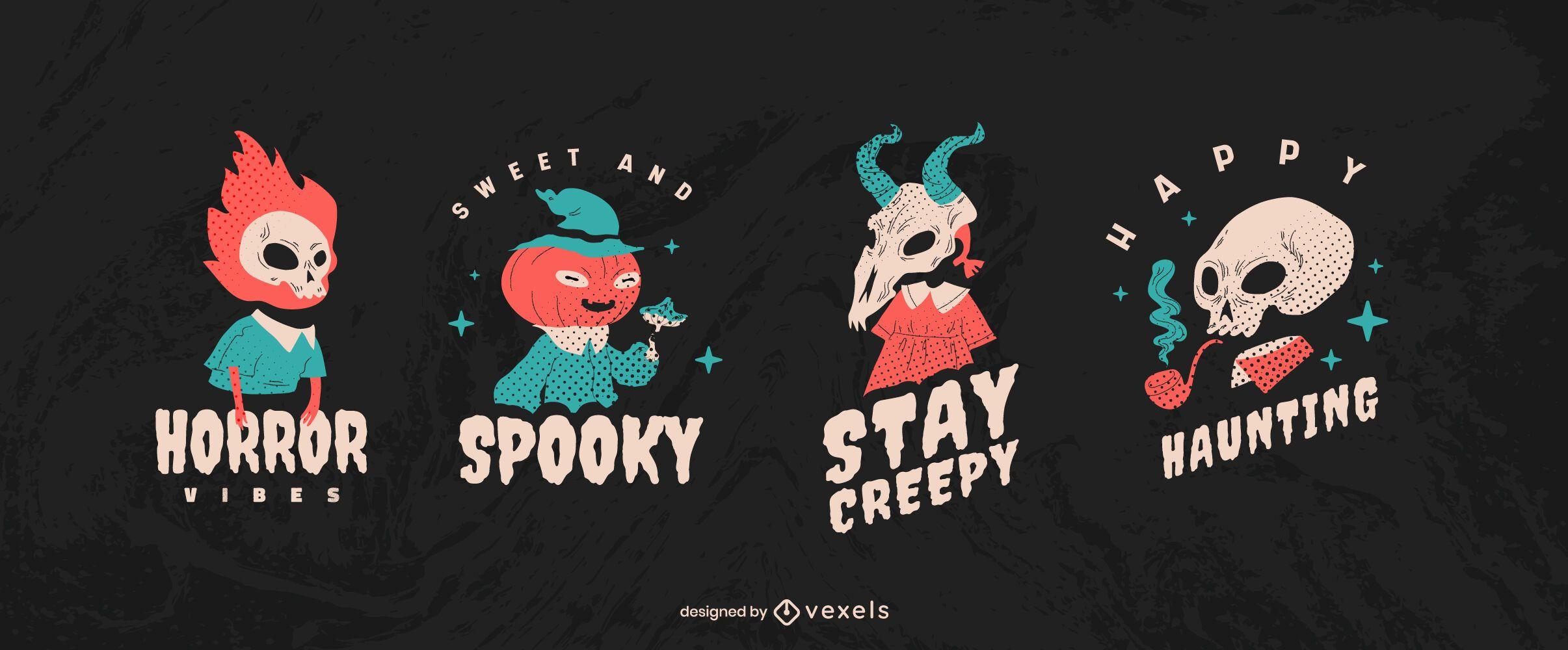 Conjunto de insignias de criatura de Halloween