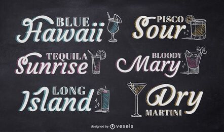 Cocktail chalk lettering set