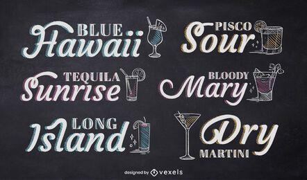 Cocktail chalk lettering set