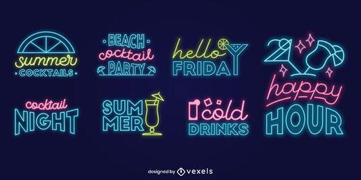 Cocktail Neon Schriftzug Set