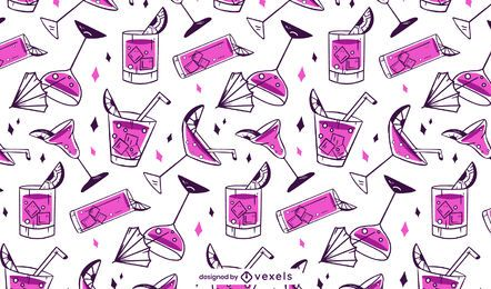 Pink cocktails pattern design