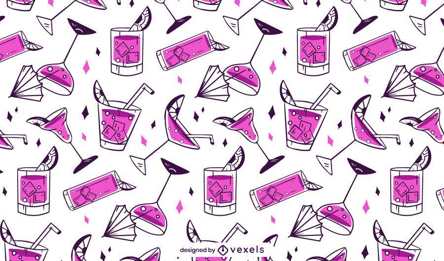 Projeto padrão de coquetéis rosa