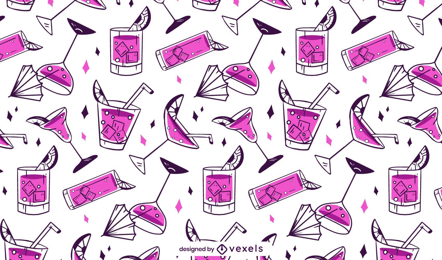 Pink cocktails pattern design