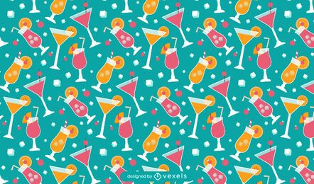 Summer cocktail pattern design