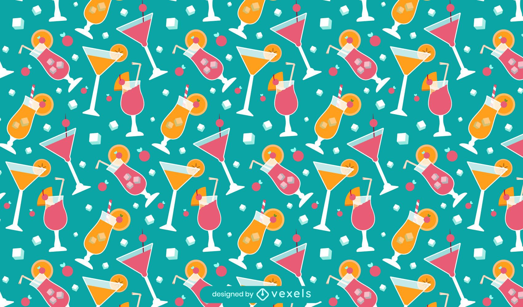 Summer cocktail pattern design