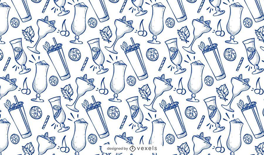 Diseño de patrón de doodle de cóctel