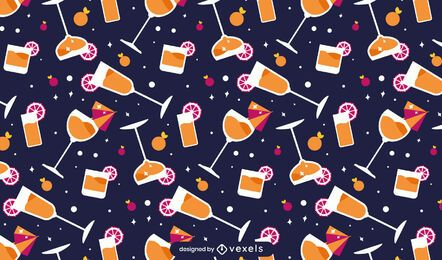 Flat cocktails pattern design