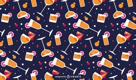 Flat cocktails pattern design