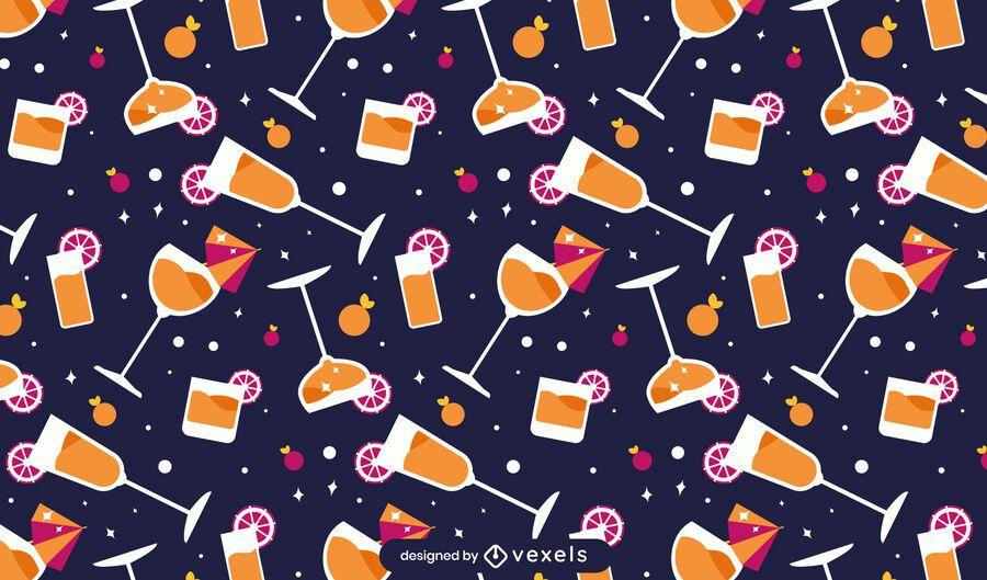 Diseño de patrón de cócteles planos