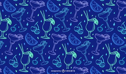 Neon cocktails pattern design