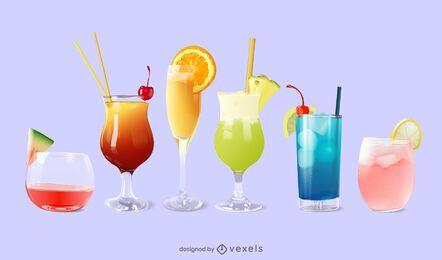 Cocktail realistic set