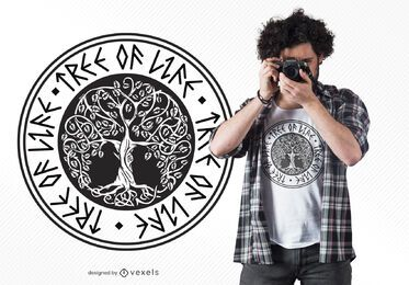 Diseño de camiseta de árbol de la vida.