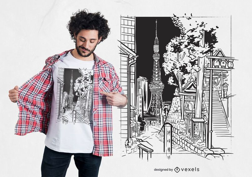 Diseño de camiseta de boceto de Tokio