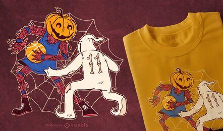Diseño de camiseta de baloncesto de Halloween.