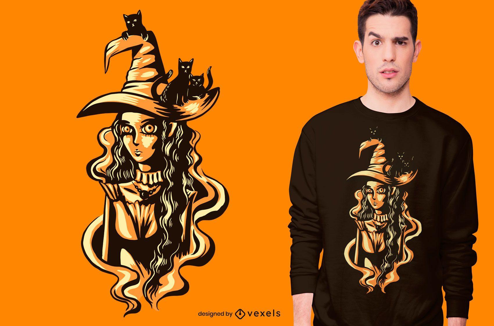 Diseño de camiseta de brujas y gatos.