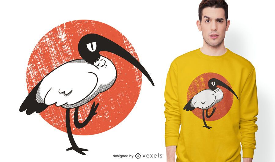 White ibis t-shirt design