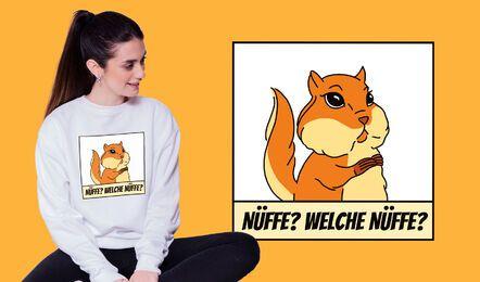 Design engraçado de t-shirt alemã com esquilo
