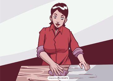 Ilustração de mulher com acabamento em madeira