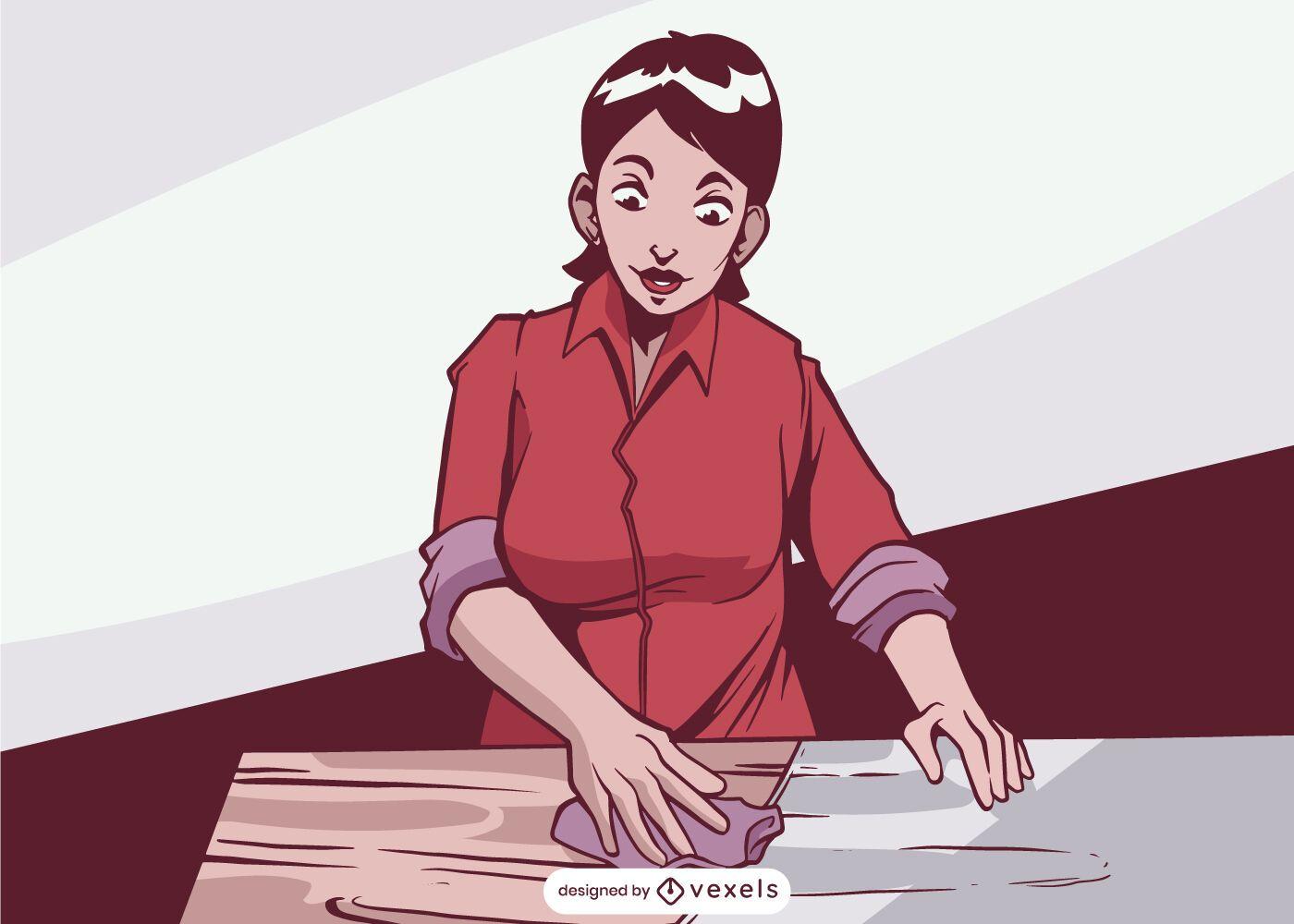 Ilustra??o de mulher com acabamento em madeira