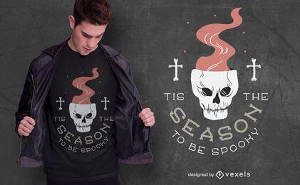 Design de camiseta com caveira de Halloween