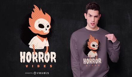 Diseño de camiseta de horror vibes halloween