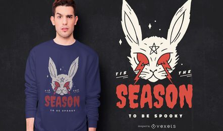 Diseño de camiseta de conejo de miedo de halloween
