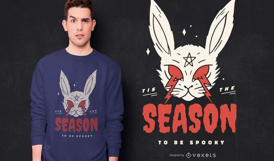 Design assustador de t-shirt de coelho de halloween